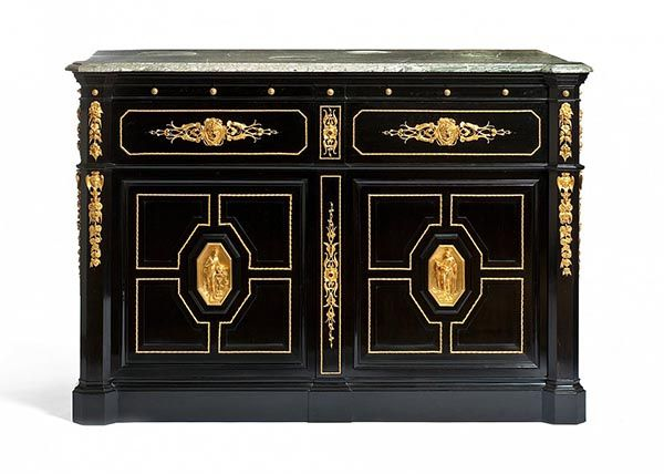 Louis-Philippe style : Louis-Alexandre Bellangé (1797 – 1861), Writing desk commode, c. 1839-1843, Ebony and blackened pearwood, mahogany, gilt bronze, gray marble, leather, Les Arts Décoratifs, Paris.