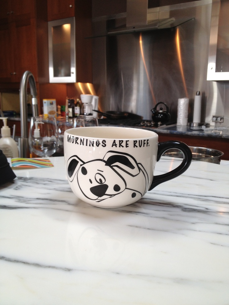 cute mug to make something similar Mornings are ruff! by Pet Pun
