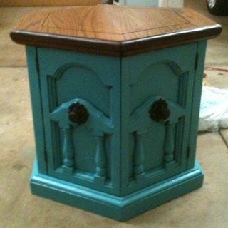End table refinished painted teal aqua blue Refurbished