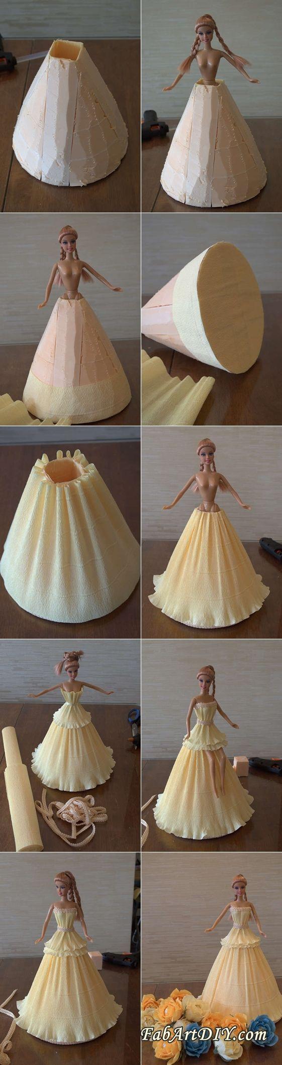 DIY Crepe Paper Barbie Dress | www.FabArtDIY.com LIKE Us on Facebook ==> https://www.facebook.com/FabArtDIY