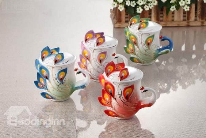 New Arrival Stylish Porcelain Enamel Peacock Cup with Lid