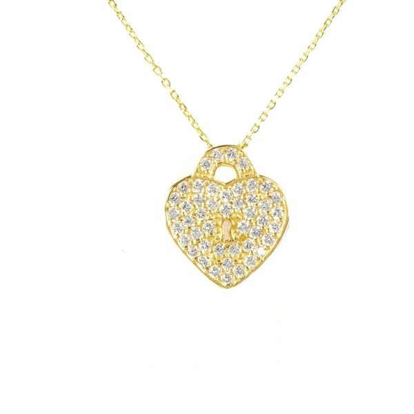 Latelita London - Key To My Heart Necklace Gold (£26) ❤ liked on Polyvore featuring jewelry, necklaces, gold necklace, white heart necklace, gold jewellery, white gold jewelry and heart lock necklace