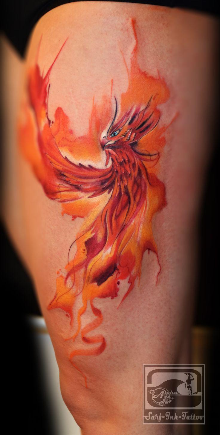 Watercolour Tattoo phönix, Aquarell Tattoo, Surf-Ink-Tattoo, Wasserfarben Tattoo, Watercolor Tattoo