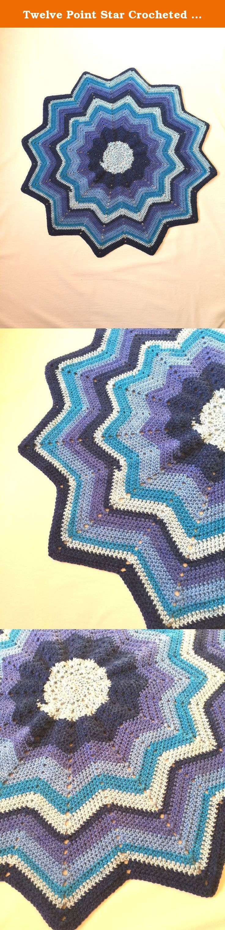 Twelve Point Star Crocheted Baby Afghan - Handmade - Ascending and Descending Blue - Perfect Gift - Stroller Blanket - Ready to Ship - Blue. This adorable twelve point star crocheted baby afghan will be perfect for any baby! This high quality yarn is extremely soft and cozy. This variegated yarn is a slowly ascending or descending blue. This blanket is perfect for laying baby down in the crib, over a stroller or even on top of a car seat in the chilly breeze. This blanket is lightweight…