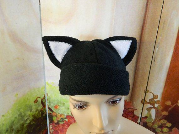 Cat Cap black white Gothic Anime Kawaii Punk Rock Costume Beanie