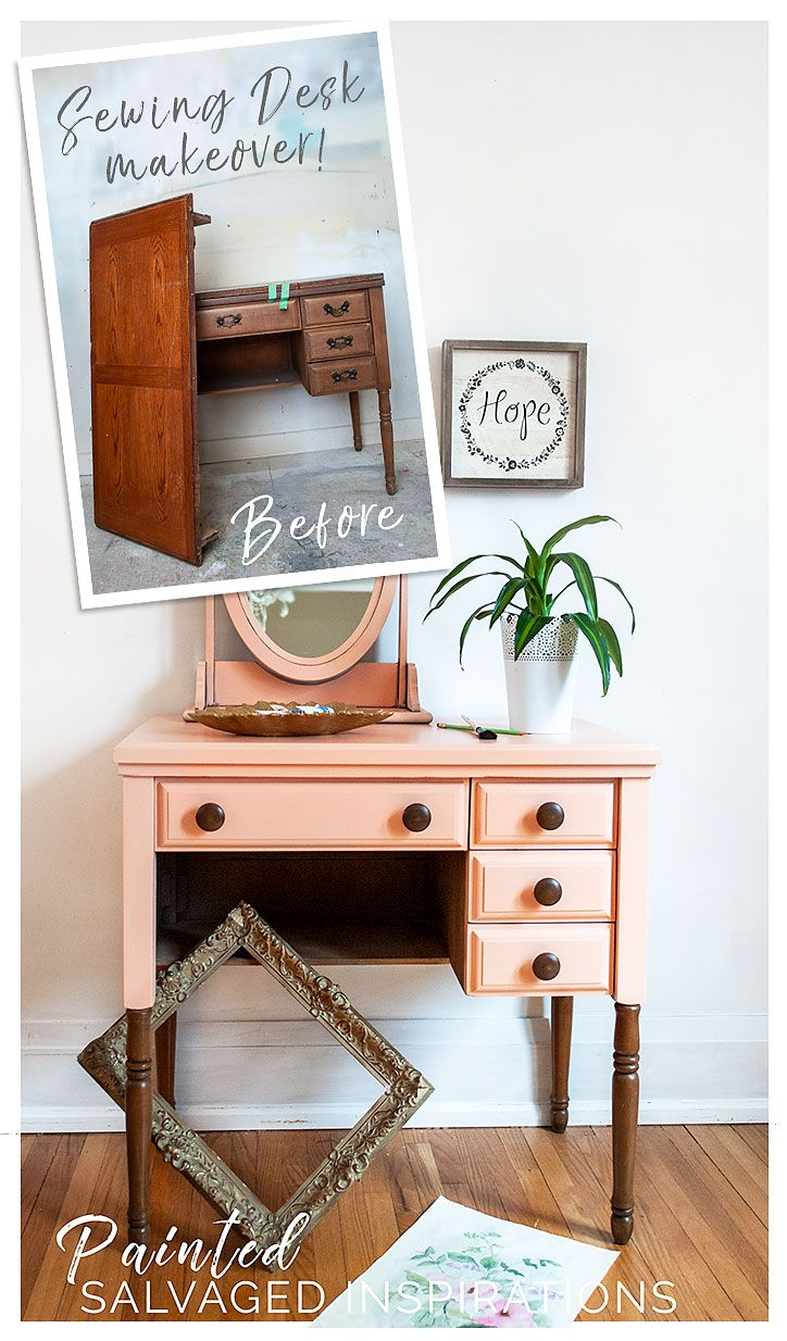 Before and After Sewing Desk Makeover