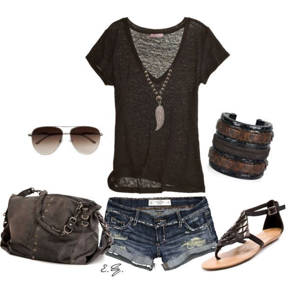 Summer Outfit - Distressed Shorts - Black Shirt - Nicely put Together with these Accessories - Sandals - Sunglasses - Bracelet -
