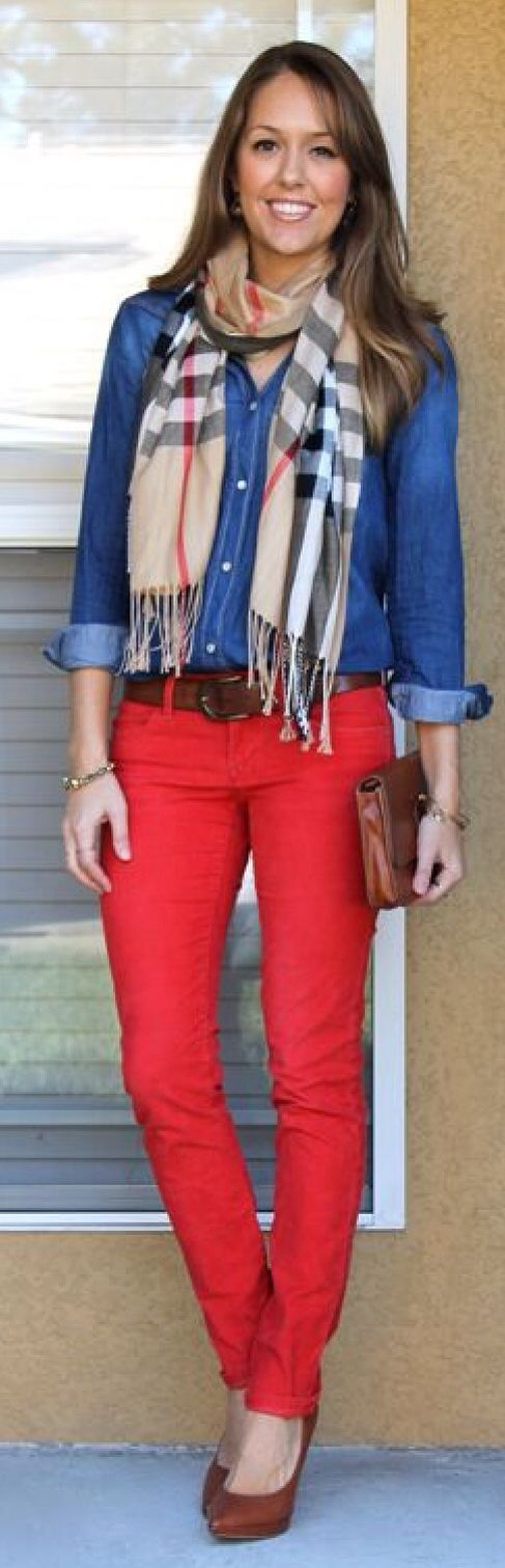 Casual Red Jeans Outfit