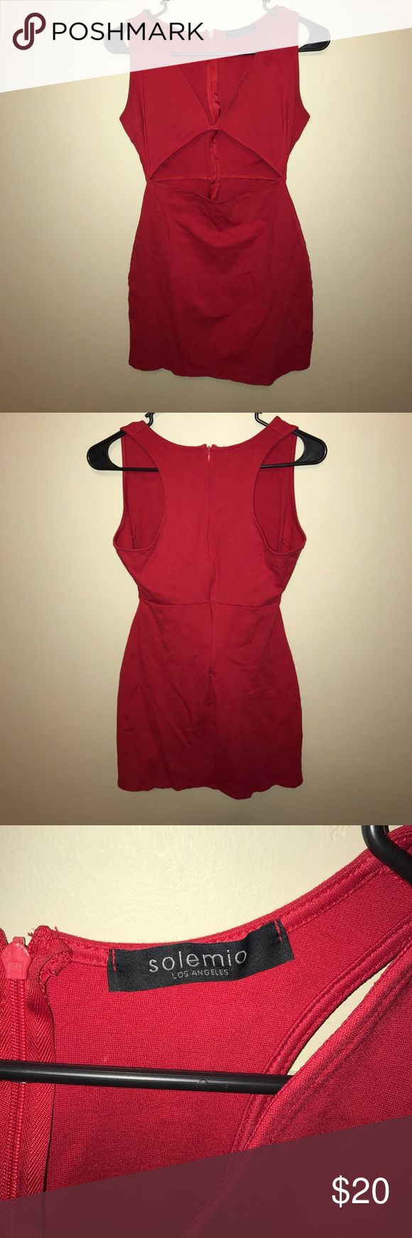 Sexy Red Mini Dress. Red Sleeveless Mini Dress with stomach cut out. solemio Dresses Mini