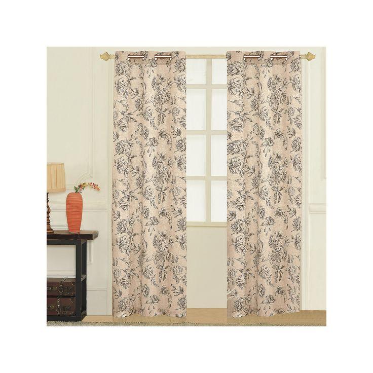 United Curtain Co. 2-pack Fiona Floral Linen Curtains, Beig/Green (Beig/Khaki)