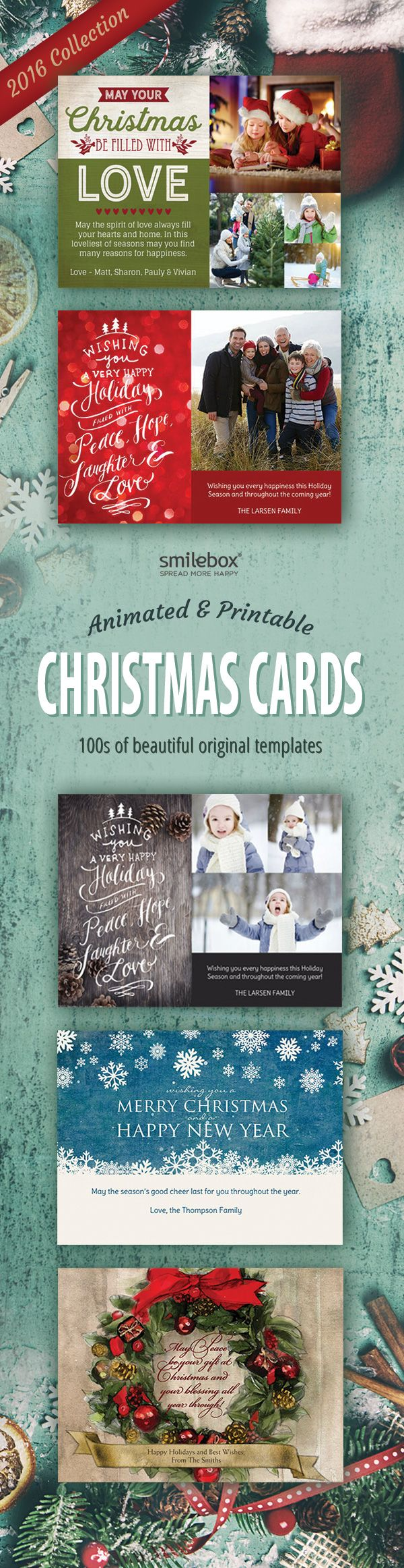Personalize festive and fun Christmas cards to share with family and friends!  Choose Your favorite template, Add your pics and text, easily print or send with music and animation.