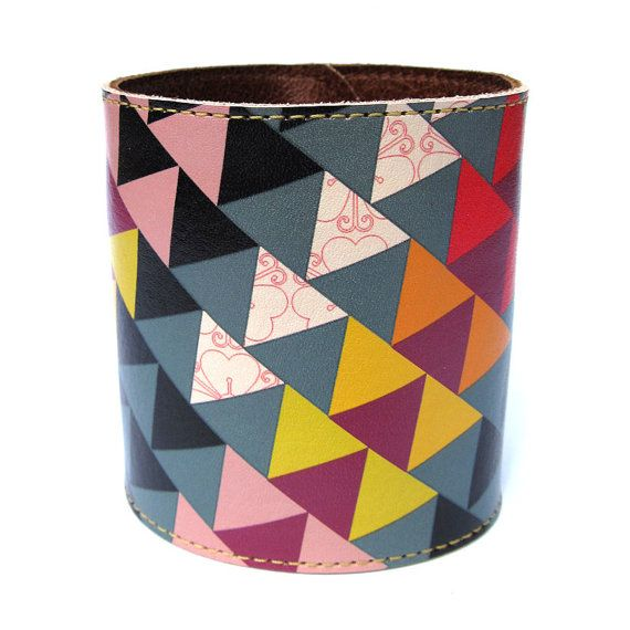 Leather cuff/ wallet wristband  Geometric Triangles by tovicorrie, $36.00