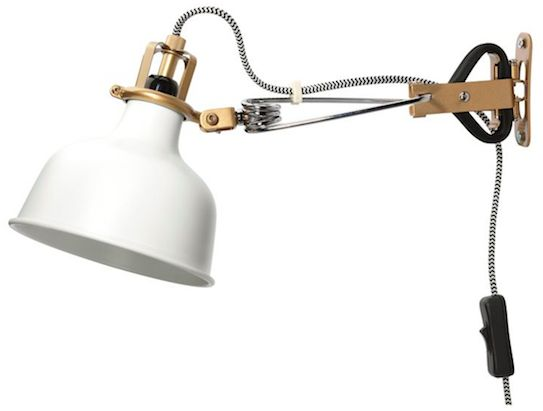 IKEA Gold and White Plug-In Clamp Light - super cute & plugs in so no holes need to be made in the wall other than screw holes