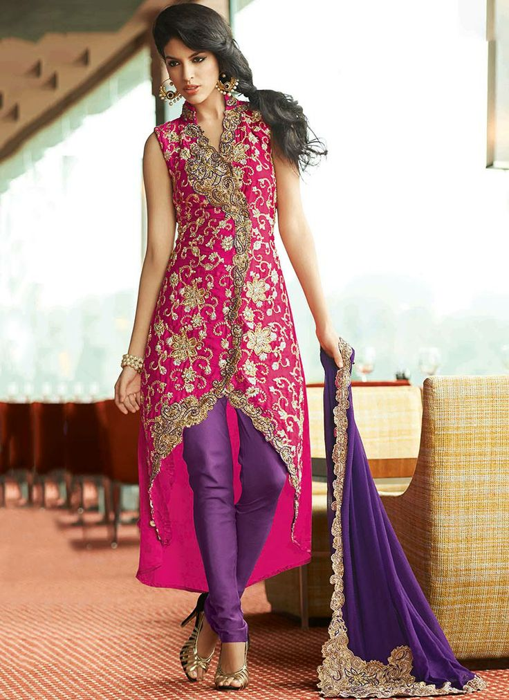 Magenta Hand Embroidered Churidar Suit 100