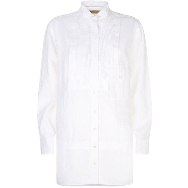 Burberry Wing Collar Shirt ($525) ❤ liked on Polyvore featuring tops, longline shirt, white formal shirt, white button down shirt, button down shirt and white longline shirt