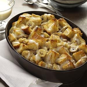 Banana Bread Pudding, maybe mush the bananas then add a light drizzle of chocolate sauce over the top