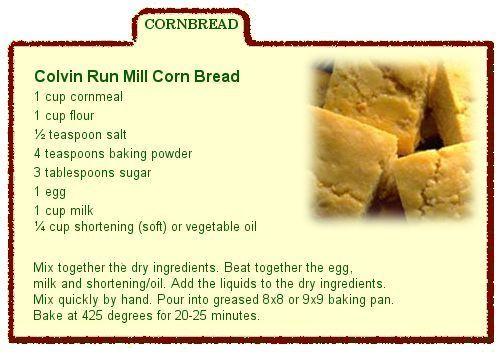 Cornbread Recipe Card