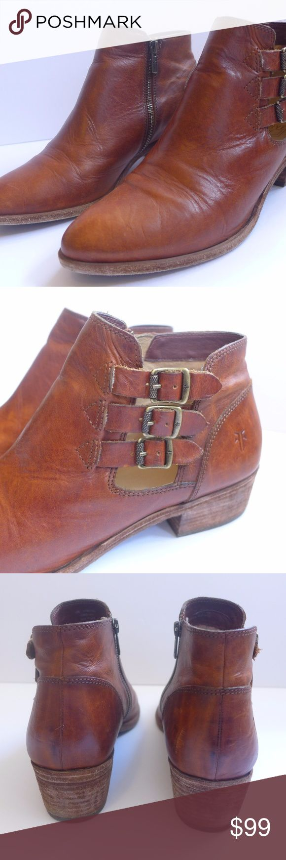 Frye Ray Belted Bootie Cognac Boots Women's 10 M L Frye Ray Belted Zip  Bootie Boots Style #: 75881 Size: 10M US Total Height 5 1/2