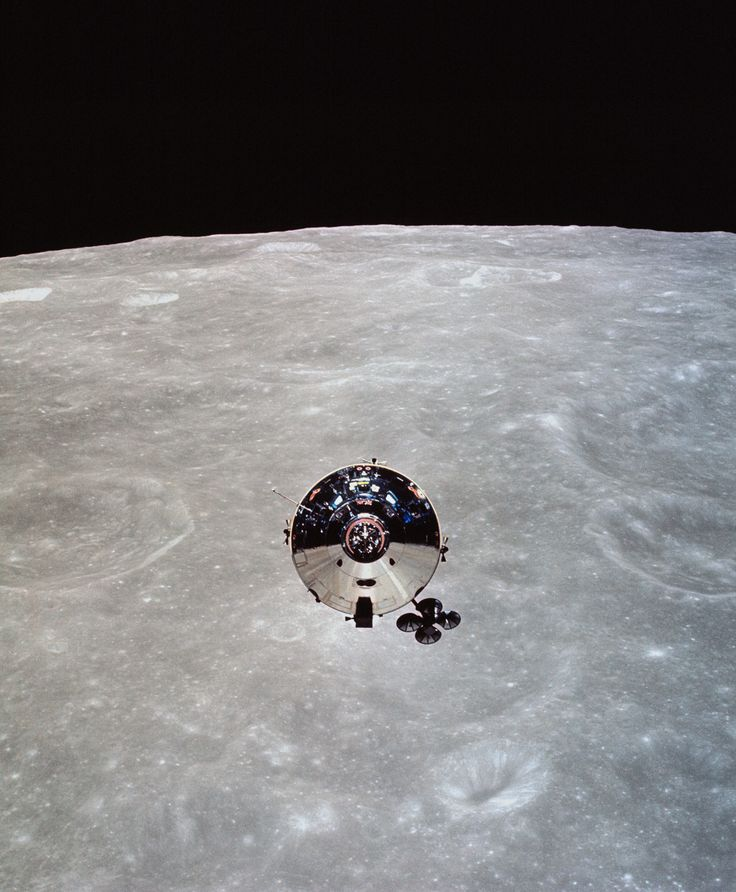 The Apollo 10 command module photographed from the lunar module after separation in orbit around the Moon, May 22, 1969.