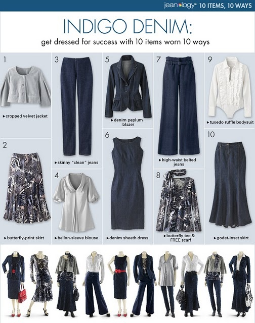 10 items - 10 ways ~ don't like the long blue skirt, but a shorter version would work...