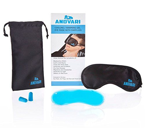 ANDVARI Blepharitis Eye Mask Warming / Cooling Gel pack, Proven to Relieve Eye Conditions - Blepharitis, MGD, Styes Tired or Sore Eyes - Headaches and Migraines. Sleep Aid. FREE Earplugs and Travel Case.