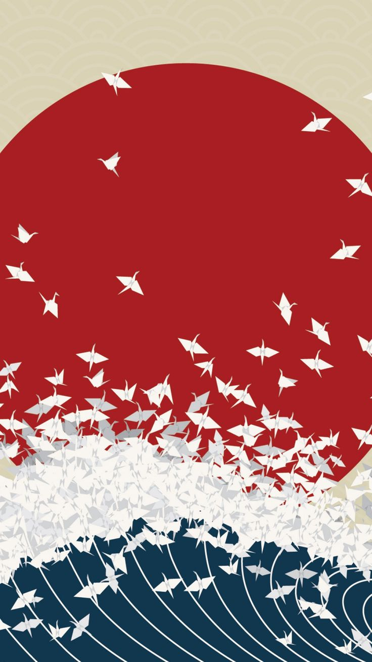 Download Wallpaper 1080x1920 minimalism, origami, japan, rising sun, wave Sony Xperia Z1, ZL, Z, Samsung Galaxy S4, HTC One HD background