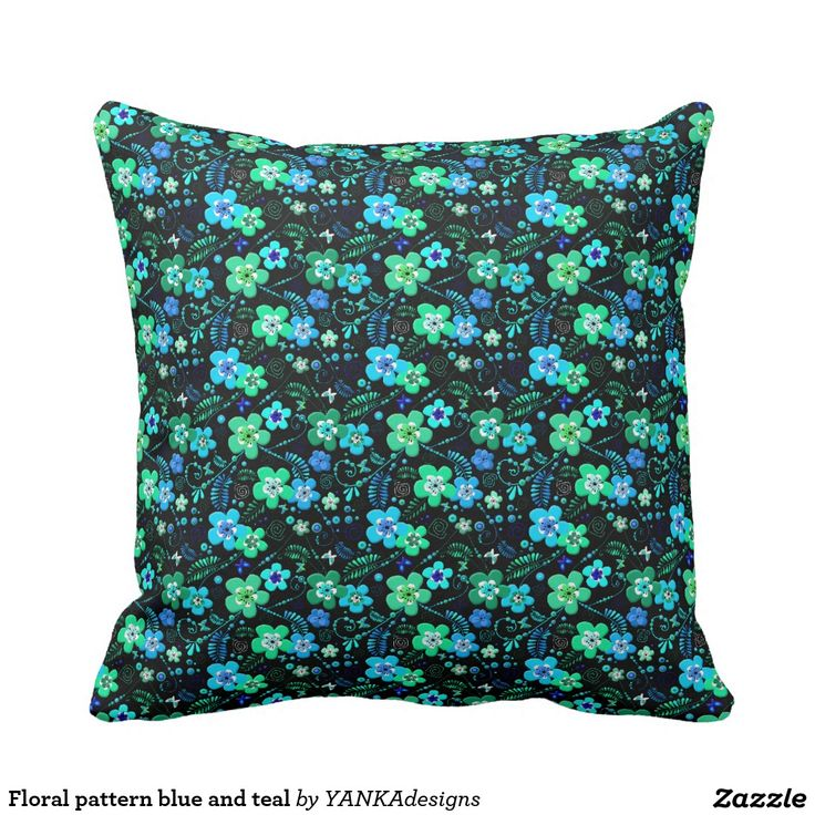 Floral pattern blue and teal throw pillow