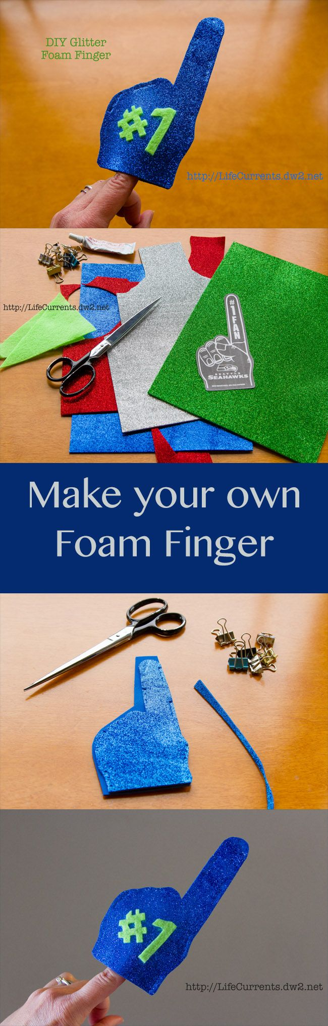 Make your own Glitter Foam finger to show support for your favorite team!