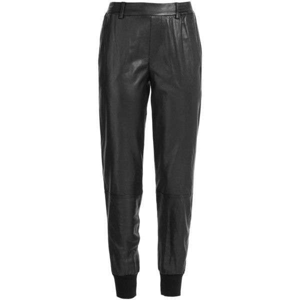 Vince Leather Jogging Pants ($430) ❤ liked on Polyvore featuring pants, pants & jeans, black, leather trousers, straight leg pants, vince pants, black trousers and pocket pants