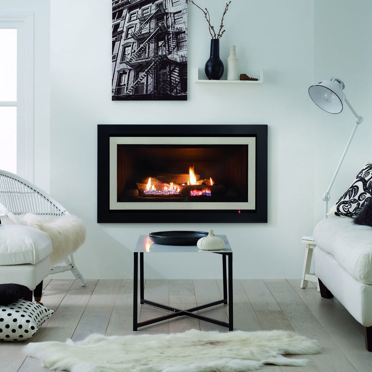 Interior design inspiration. Monochrome design. Modern lounge and living area. Symmetry Gas Log Fires and Gas Fireplaces - www.rinnai.co.nz