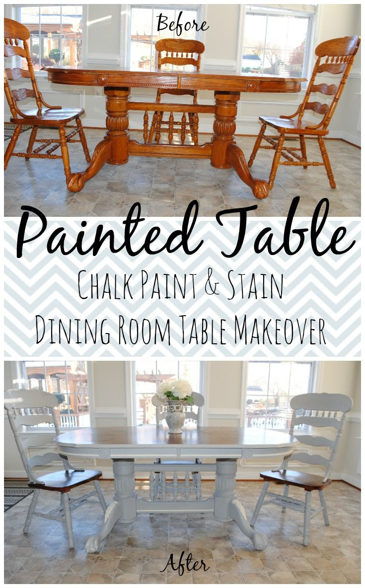 DIY French Country Dining Table. Loves the Find blog by Ashlyn. Before and after antique dining room table thrift find. Annie Sloan Paris gray and Old white chalk paint with wood stain.