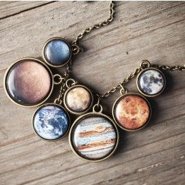 Seven two-sided planets on an elegant necklace