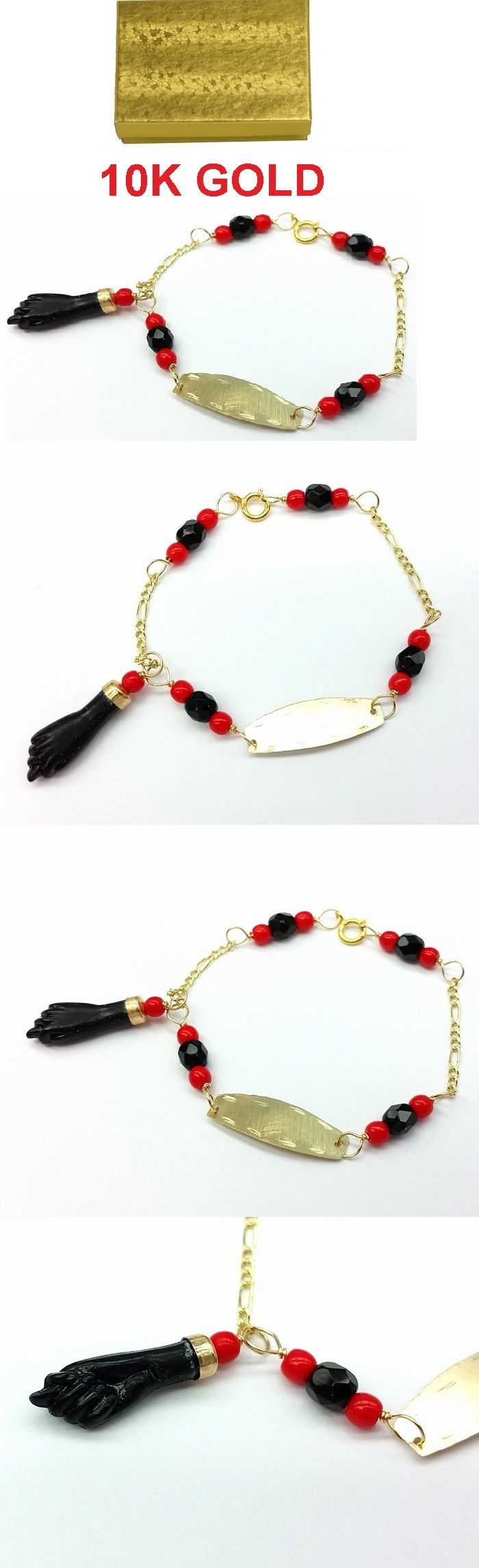 Bracelets 84606: New 10K Gold Azabache Baby Bracelet ( Protection From Evil Eye) Mano De Azabache BUY IT NOW ONLY: $38.99