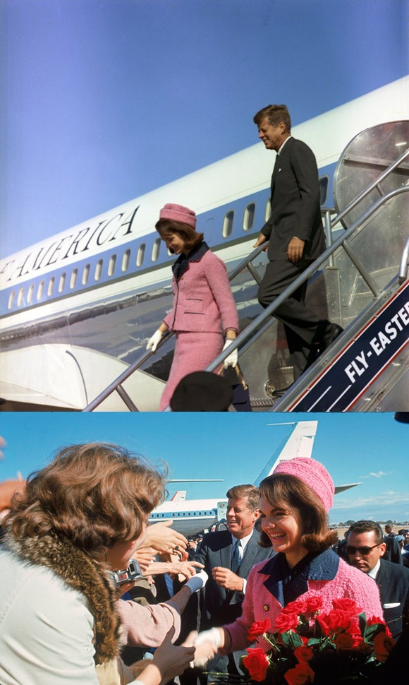 John Kennedy and Jackie Kennedy arriving in Dallas,Texas. November,22,1963 A few hours later he would be assassinated.