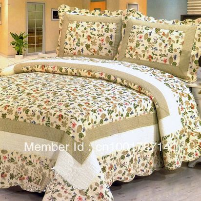Cotton patchwork quilt set/1PC bead cover/2 pcs pillow cover $31.90