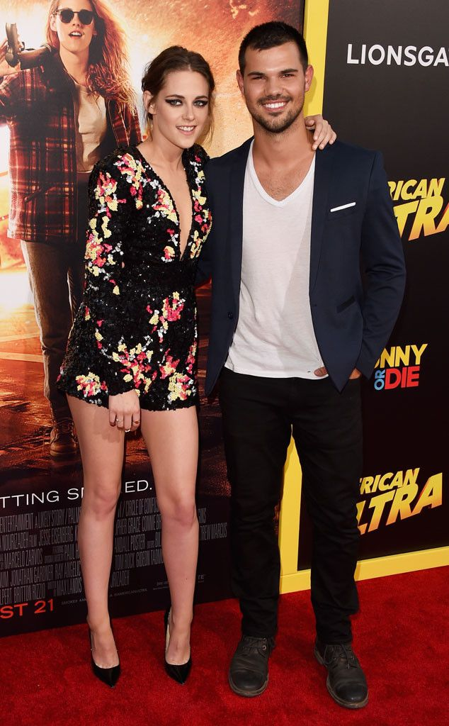 Kristen Stewart & Taylor Lautner from The Big Picture: Today's Hot Pics  Twilight reunion! The hunk supports his former co-star at her American Ultra premiere at L.A.'s Ace Theatre.