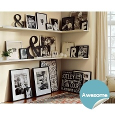 I love this.  I actually started building a corner like this in my livingroom!Ideas, Black And White, Living Room, Photos Wall, Black White, Photos Display, Gallery Wall, Corner Shelves, Pottery Barn
