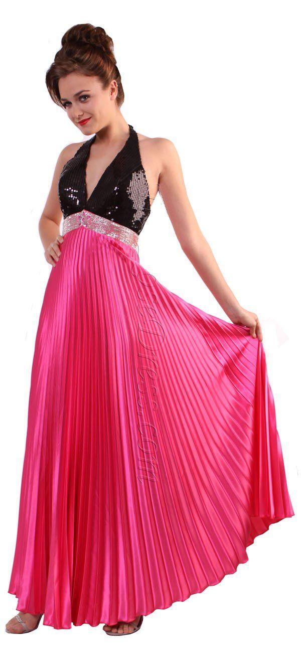 Stunning halter hot pink formal dress sequin top hot pink