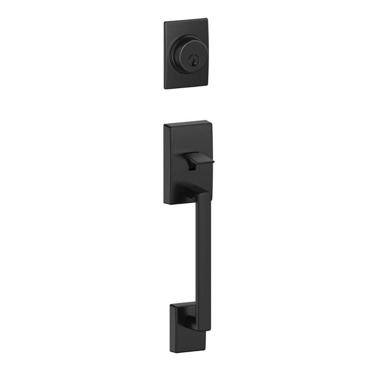 View the Schlage F58CEN622 Matte Black Century Single Cylinder Exterior Entrance Handleset from the F-Series at Build.com.