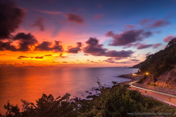 https://flic.kr/p/upBz7f | Colourful Sunset and The Beautiful Coastline | he horizontal long-exposure image of the scenic road after sunset (twilight) along Ao Khung Wiman coastline in Chanthaburi Province, Thailand. This was taken from famous Noen Nang Phraya Outllook.