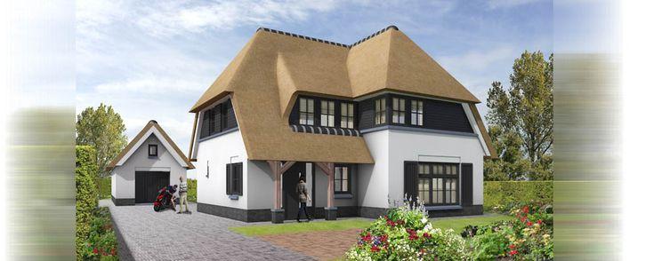 architectuur impressie vrijstaande villa met rieten kap....