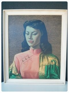 Here is a great example of 'Miss Wong' - an original vintage Vladamir Tretchikoffprint. This print along with a few other Tretchikoff's images have becomesynonymous with the Mid Century style that seem to capture the impulse of thetime. We love Miss Wong's regal look and the fantastic contrast of the pink & green colours of her clothing. She has the all important green tinge Tretchikoffface that makes the whole image other worldly and very striking. The perfect addition to any Mid ...
