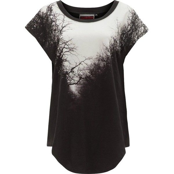 Women's Jawbreaker Spooky Woods Baggy Top Black ($38) ❤ liked on Polyvore featuring tops, baggy shirt, button down shirts, button down top, button up top and button up shirts