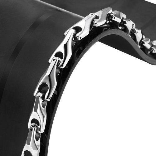 R&B Bijoux - Bracelet Homme Solide - Gourmette Liens Style Blé Lourds - Carbure de Tungstène (Argent). 49,90€ #cadeau #homme #bijoux #bracelet #gourmette #saintvalentin