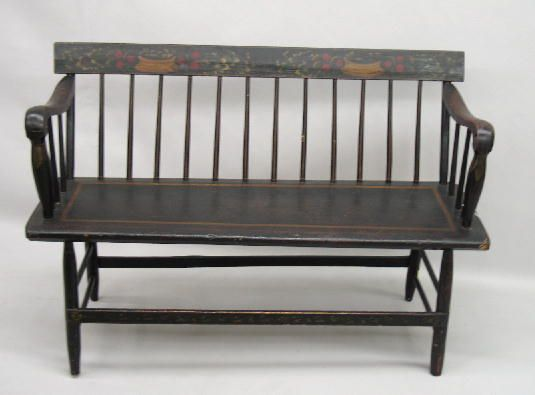 Small Decorated Bench Old Black Paint With Stenciled