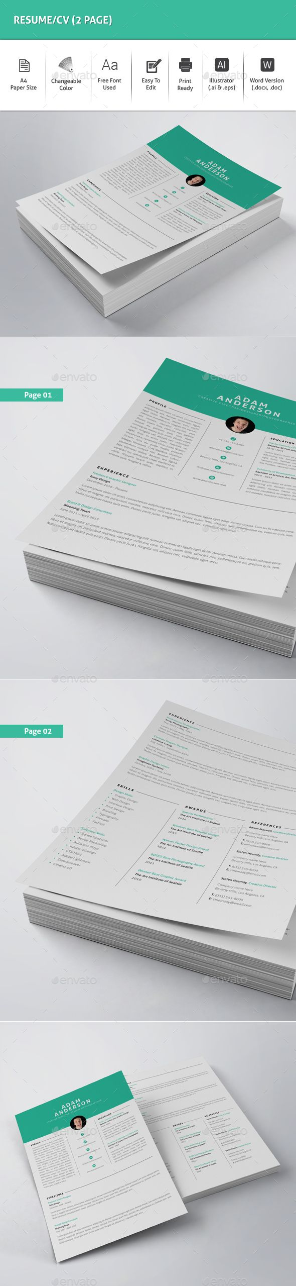 ResumeCV 2 Page 40 best Graphic Design