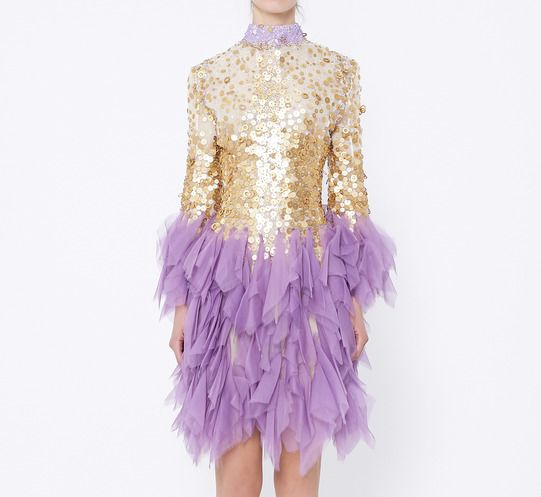 Unknown Cream, Purple And Gold Dress | VAUNTE