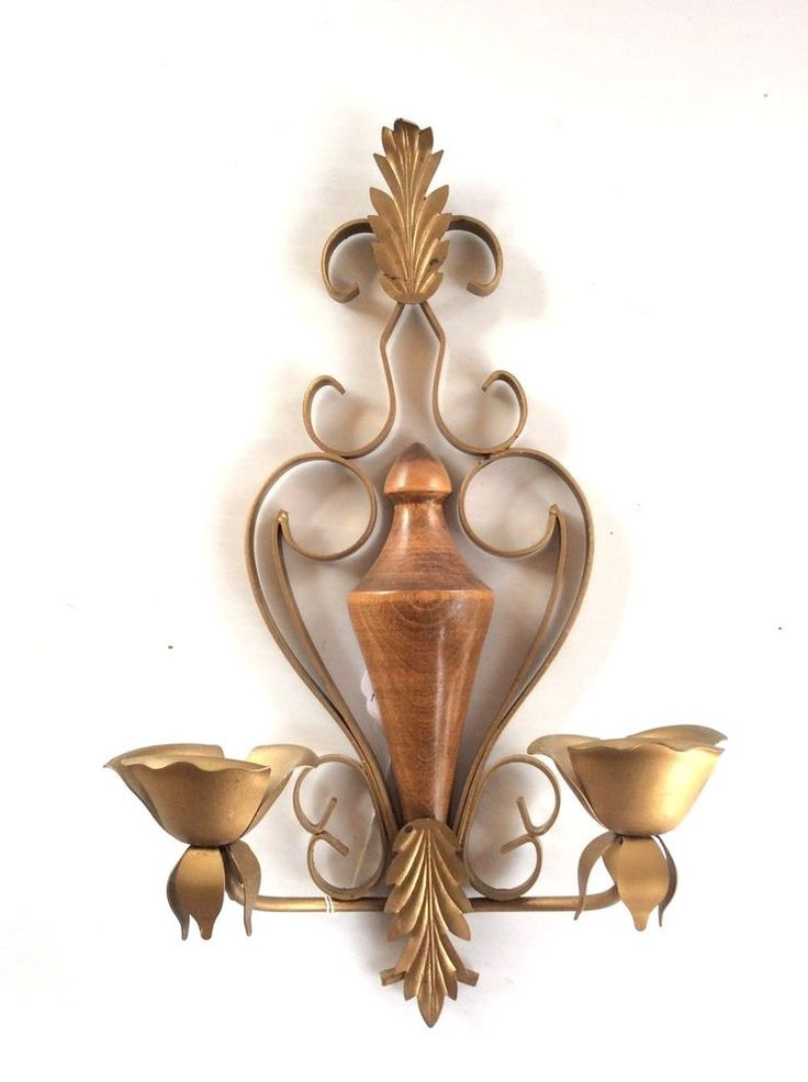 Mid Century Wall Sconce,Candle Holder,Metal And Wood,Vintage Wall Decor,MCM Home