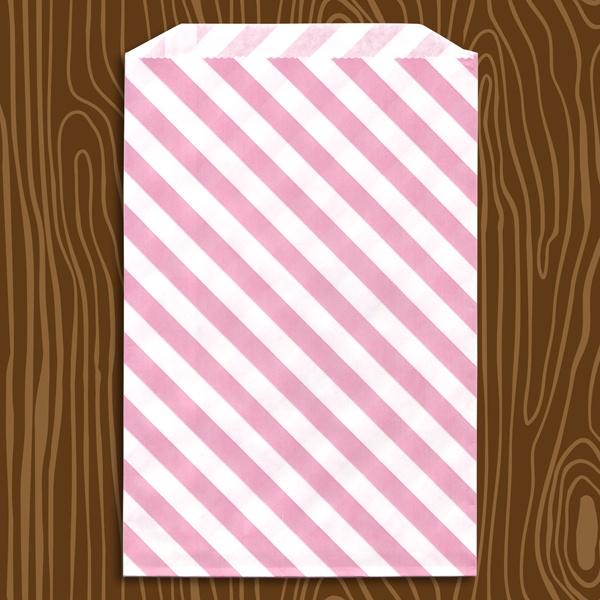 candy bags  Pink Diagonal Stripe Paper Bags