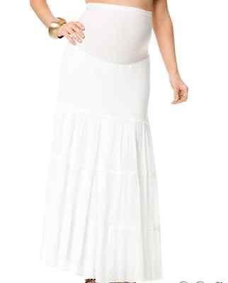Motherhood Maternity White Secret Fit Belly Gauze Full Length Tiered Skirt - M